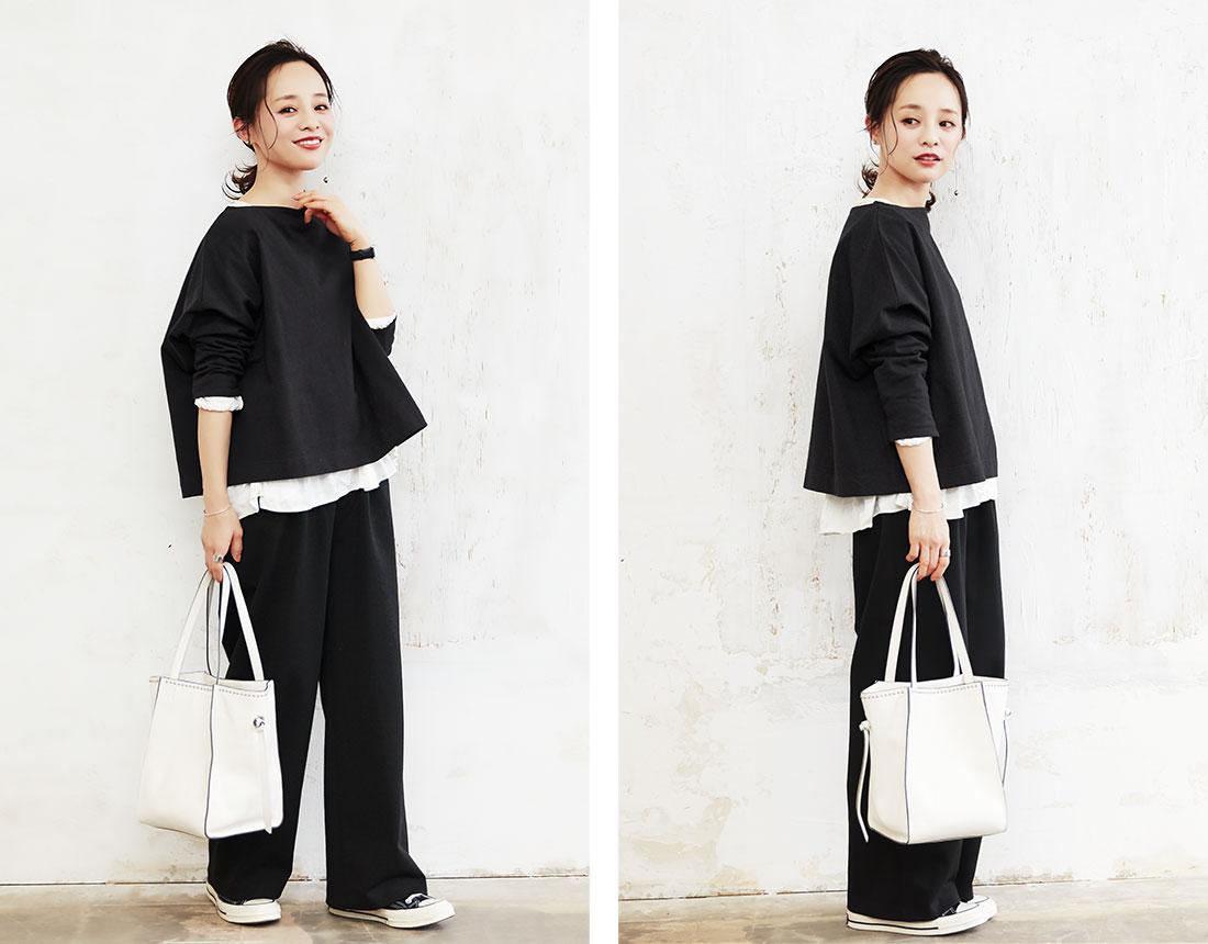 ブラックのコラボアイテムを着用した田中亜希子さん