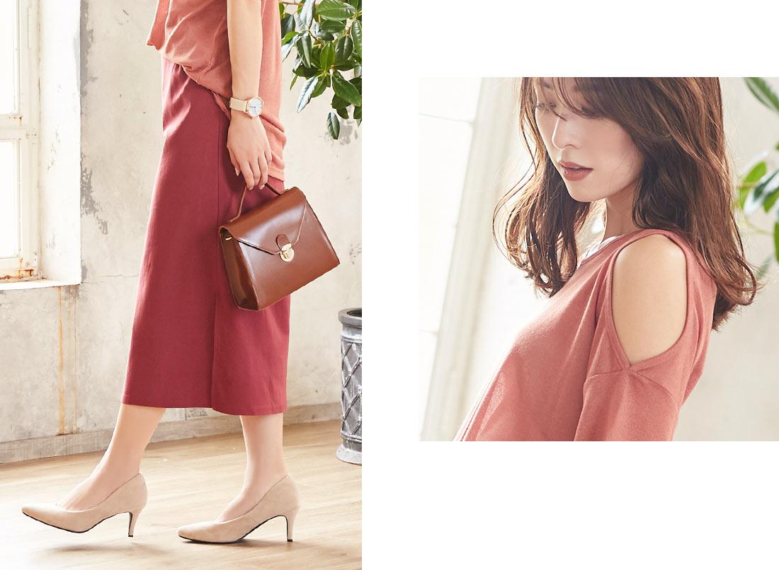 モスピンクのスカートを履いた西山真以さん