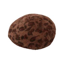 レオパード柄アンゴラ風ベレー帽 [J670]