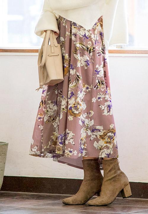 花柄のレトロ柄ワンピースを着たモデル
