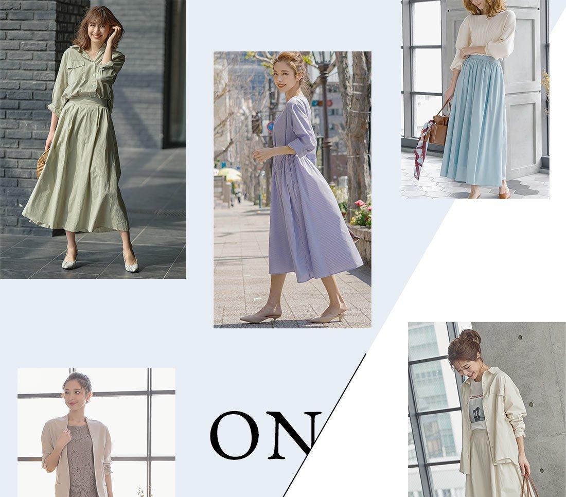 ワンピース・スカートを着た女性