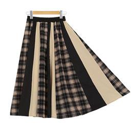 チェックパネルジョーゼットスカート[M2248]