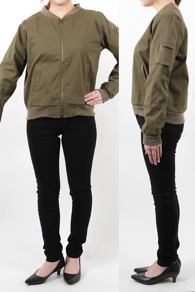 152cmのモデルが着丈55cmのジャケットを着たイメージ