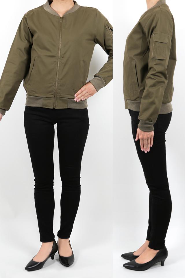 158cmのモデルが着丈55cmのジャケットを着たイメージ