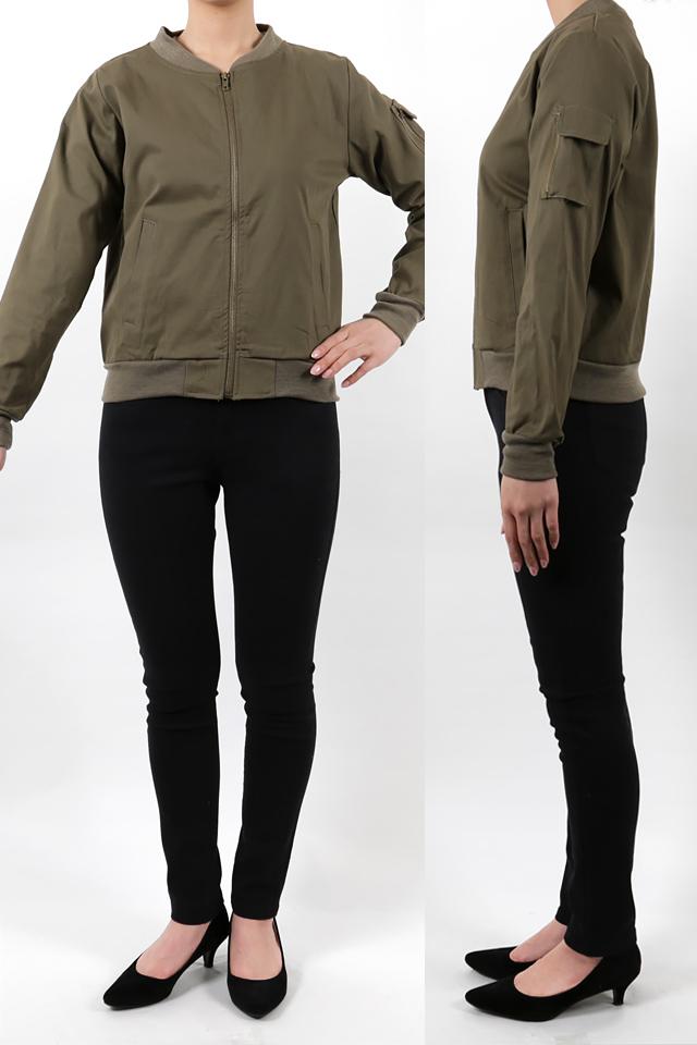 165cmのモデルが着丈55cmのジャケットを着たイメージ
