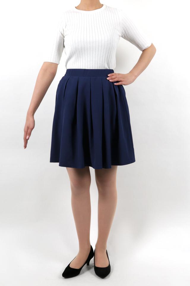 165cmのモデルが着丈50cmのスカートを着たイメージ