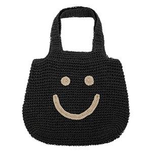 スマイル刺繍ペーパー素材トートバッグ