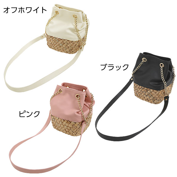 合皮×雑材チェーンショルダー巾着バッグ [B1072]