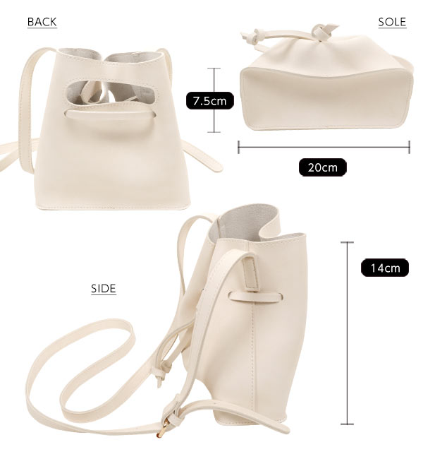 フェイクレザー☆ミニ巾着ショルダーバッグ[B1130]