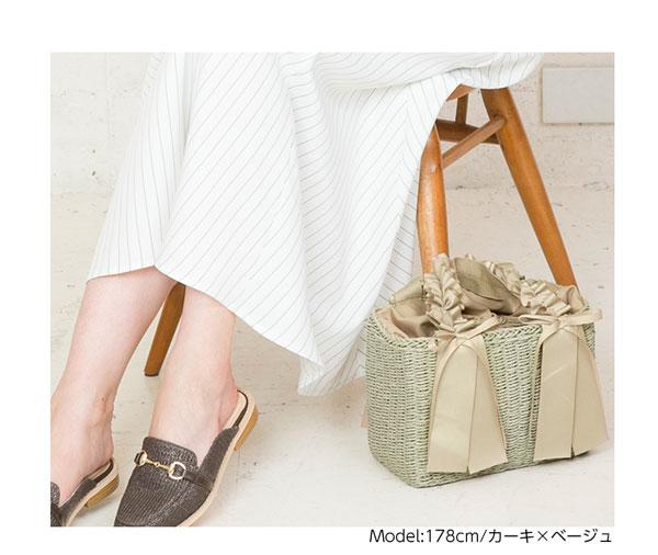 グログランリボンペーパー巾着付きBAG[B1145]