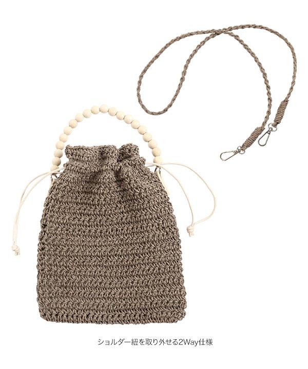 ウッドハンドル巾着ショルダーバッグ [B1400]