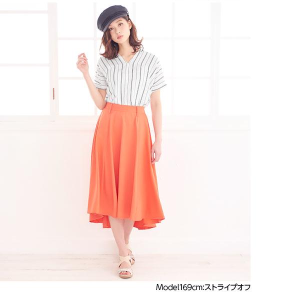綿麻風素材スキッパーシャツ  [C2285]