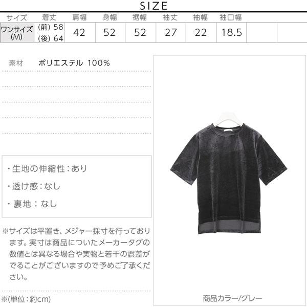 ベロア素材五分袖Tシャツトップス/レディース/カットソー/半袖 [C2862]のサイズ表