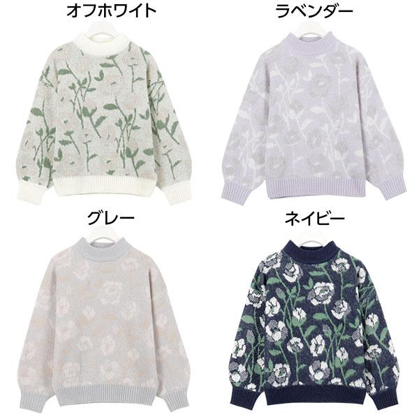 ふわふわモヘアタッチ花柄ジャガードニット[C3033]