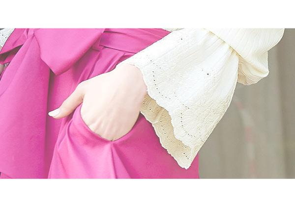 袖レース刺繍プルオーバー [C3098]