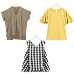 ≪サマーセール!!≫選べる3type[スキッパー/裾フレア/袖フリル]綿100%ブラウス [C3265]
