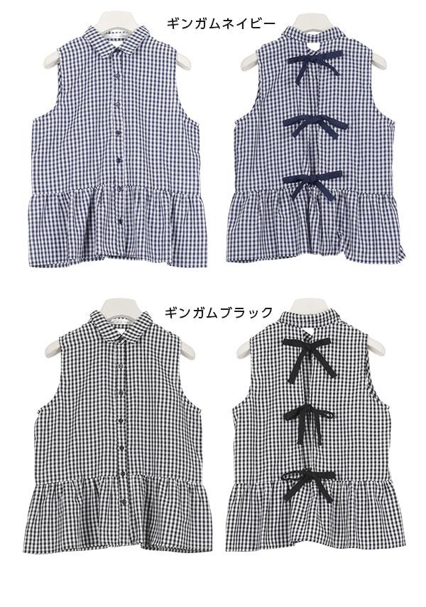≪ファイナルセール!≫バックリボン☆裾フリル☆スリーブレスジョーゼットペプラムブラウス [C3272]