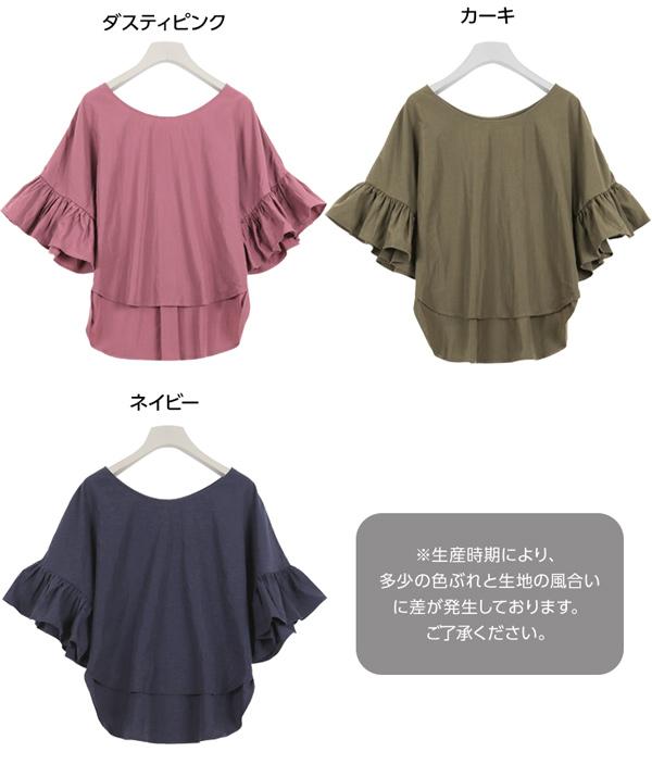 ≪ファイナルセール!≫袖フリルゆったりトップス [C3273]