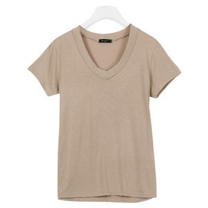 レーヨン混☆ベーシックシンプルVネックストレッチTシャツ [C3293]