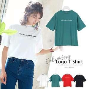 英字ロゴ刺繍ボックスシルエットシンプルTシャツ [C3302]