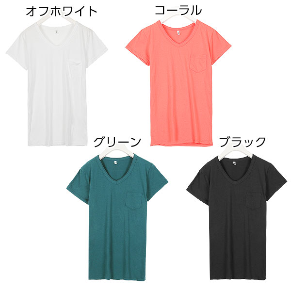 ポケット付きVネックTシャツ [C3317]