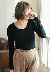 [Uネック/Vネック]前身二重テレコリブ長袖Tシャツ [C3416]