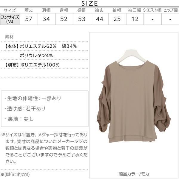 袖切り替えカットソートップス [C3434]のサイズ表