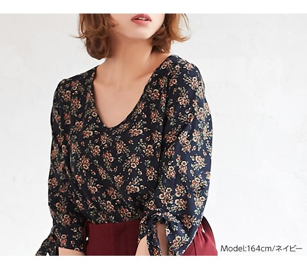 袖リボン花柄Vネックブラウス [C3437]