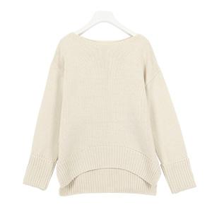 【Ayumiさんコラボ】[ハイネック/ボートネック]袖折り返しゆるニット [C3495]
