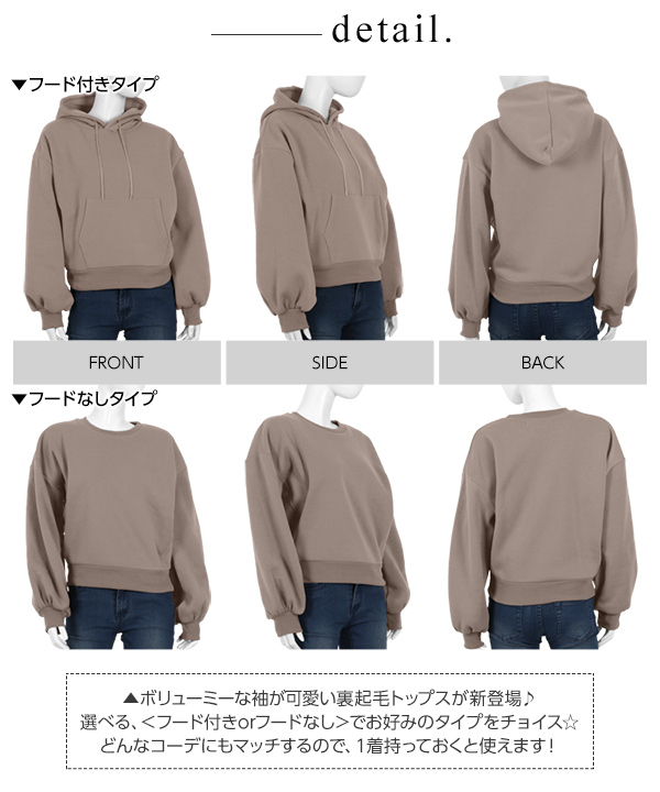 【裏起毛2018】袖バルーンパーカー [C3526]