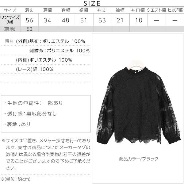 刺繍オーガンジーレースブラウス [C3579]のサイズ表