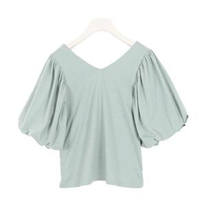 前後Vネックボリューム袖Tシャツ [C3802]