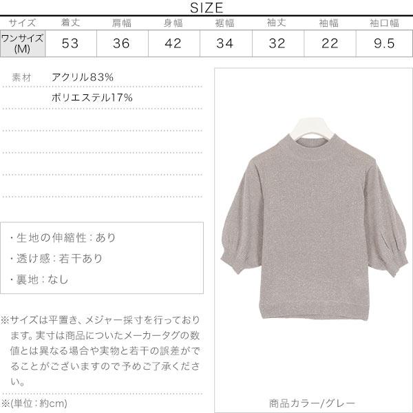 ラメプチハイネック5分袖ニット [C3860]のサイズ表