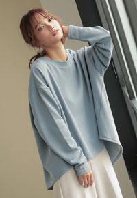 【裏起毛】バックスリットヘムドルマンプルオーバー [C4249]