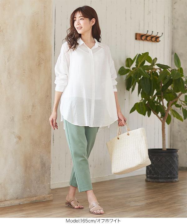 シアー素材サイドスリットチュニックシャツ [C4479]