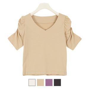 ギャザースリーブVネックTシャツ [C4607]