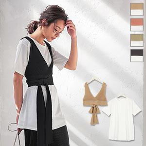 【2点SET】ニットビスチェ×チュニックTシャツ [C4668]