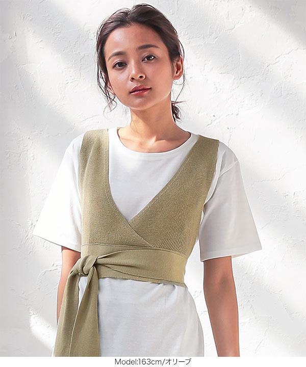 [ 2点セット ]ニットビスチェ×チュニックTシャツ [C4668]