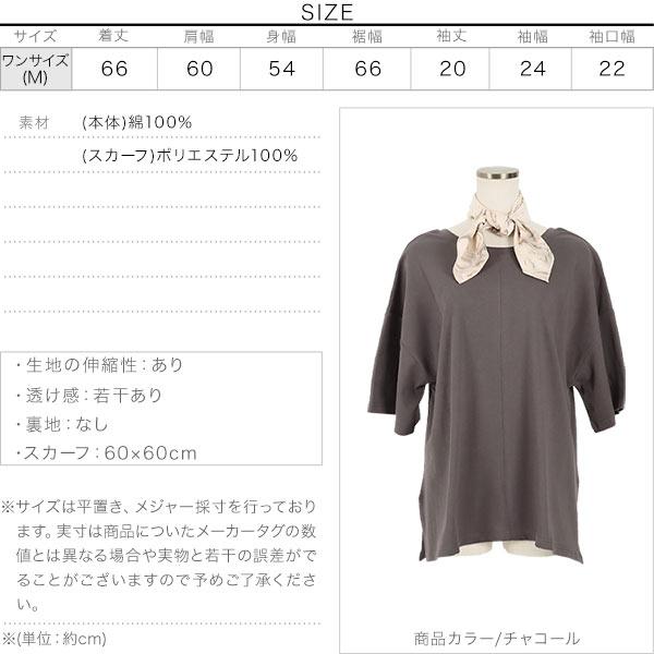 スカーフ付きロゴプリント後あきTシャツ [C4782]のサイズ表