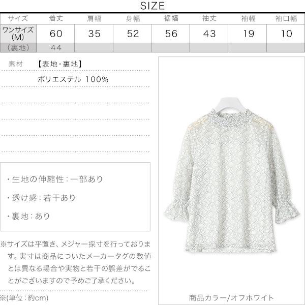 襟シャーリングレースブラウス [C4834]のサイズ表