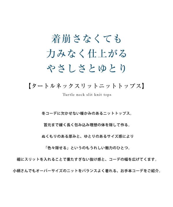 [ 田中亜希子さんコラボ ] タートルネックスリットニットトップス [C4970]