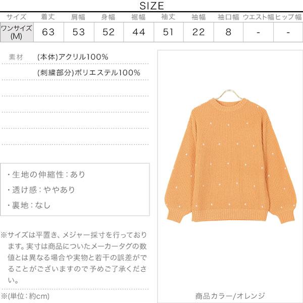ドット刺繍ニット [C5279]のサイズ表