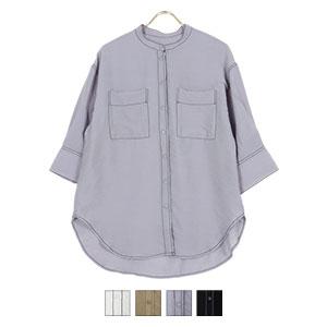 配色ステッチ半袖シャツ [C5448]