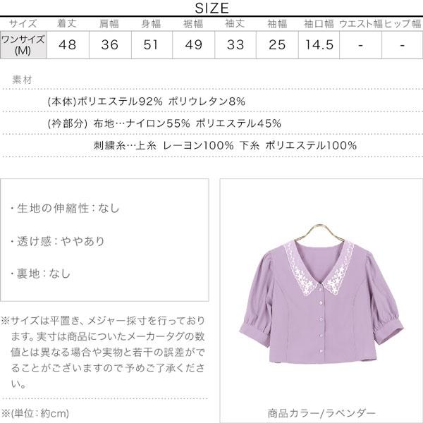 刺繍襟ギャザースリーブブラウス [C5473]のサイズ表
