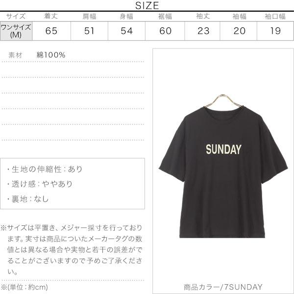 Day of the WeekロゴTシャツ [C5689]のサイズ表