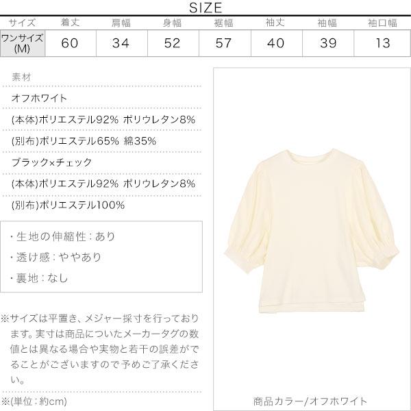 袖切替えボリュームスリーブトップス [C5696]のサイズ表