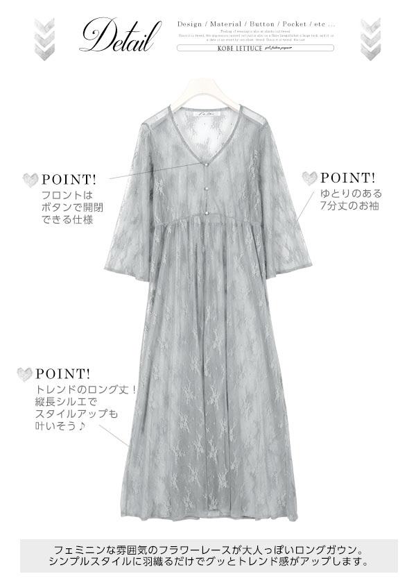 ロング丈☆総レースガウンカーディガン [E1805]