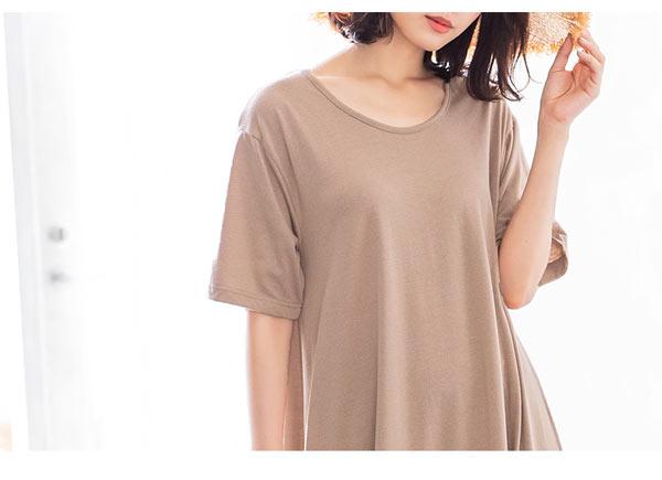 裾ティアード半袖カットソーワンピース [E2083]
