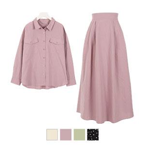 【2点セット】シャツ+スカートセットアップ [E2390]