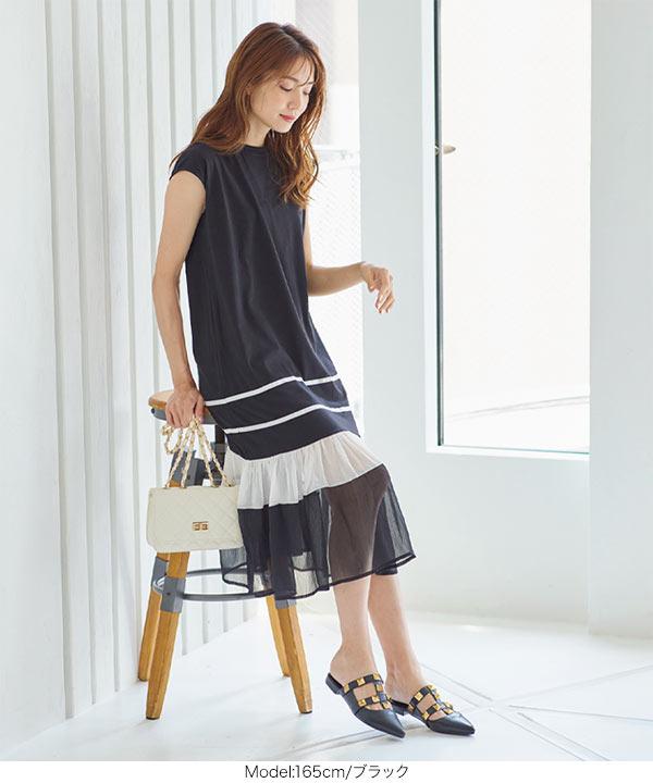 裾シアーワンピース [E2890]